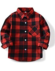 OCHENTA Boys' Long Sleeve Button Down Plaid Flannel Shirt