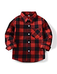 OCHENTA Boys' Long Sleeve Button Down Plaid Flannel Shirt