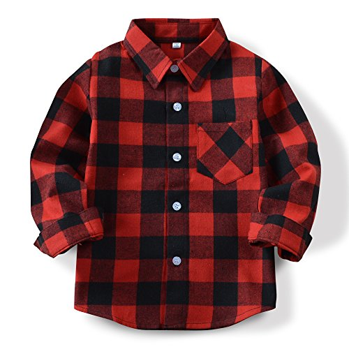 OCHENTA Little Kids Boys' Girls' Long Sleeve Button Down Plaid Flannel Shirt E001 Red Black Tag 110CM - - Flannel Red Boys Plaid Shirt
