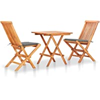 vidaXL Solid Teak Wood Bistro Set Wooden Pub Outdoor Garden Bar Table and Chairs Seating Seat Furniture 3 Piece with…