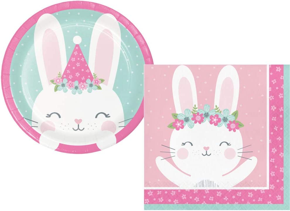 Bunny Party Supplies: Bundle Includes: Round Dessert Plates and Napkins for 16 Guests (Round Plate)