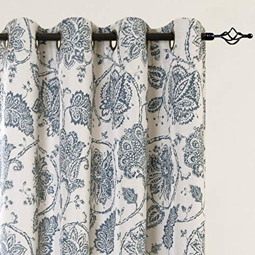 jinchan Floral Scroll Printed Linen Textured Curtains Grommet Top Ikat Flax Textured Medallion Design Jacobean Room Darkening Curtains Retro Living Room Window Covering Teal 95 inch Long Two Panels (Jacobean Floral)