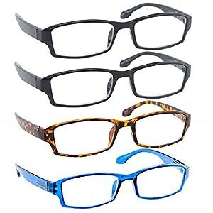 Reading Glasses 1.25 2 Black Tortoise Blue (4 Pack) F501