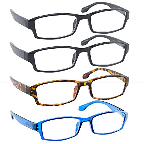 Reading Glasses 0.50 2 Black Tortoise Blue (4 Pack) F501