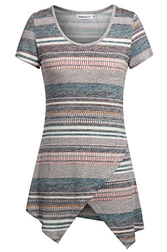 Helloacc Womans Ethnic Summer Short Sleeves Zip-Zap Pattern Striped Tunic Tops