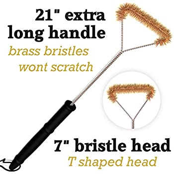 "Grill Brush Extra Long 21"" Removes Grease Grime And Debris From Top Bottom Corners And Sides-Brass Bristles Won't Scratch or Damage Porcelain Grids-!50%Sale Limited Time!"