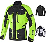 Adventure/Touring Motorcycle Jacket For Men Textile Motorbike CE Armored Waterproof Jackets ADV 4-Season (Hi-Vis Green, 5XL)