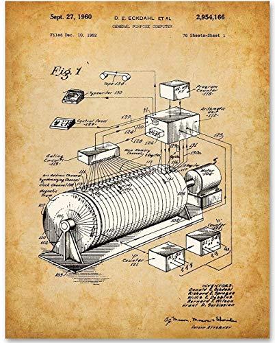 1960 Eckdahl Computer - 11x14 Unframed Patent Print - Makes a Great Gift Under $15 for IT Professionals, Programmers and Geeks