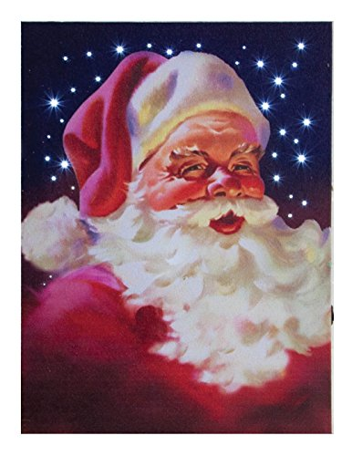 Classic Santa Claus Portrait LED Light-Up 12 x 9 inch Christmas Stretched Canvas Wall Art - Santa Claus Portrait