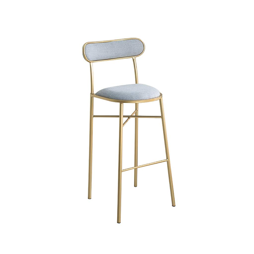 H H-75CM A-Fort Nordic New Bar Stool Wrought Iron Bar Chair gold Home High Stool Modern Dining Chai Bar Stool,Creative Chair (color   A, Size   H-75CM)