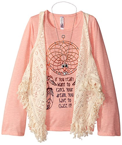 UPC 885872682543, Beautees Big Girls' Screen Tee with Lace Vest, Sea Coral, Large