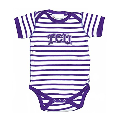 TCU Texas Christian University Horned Frogs Striped NCAA College Newborn Infant Baby Creeper (0-3 Months)