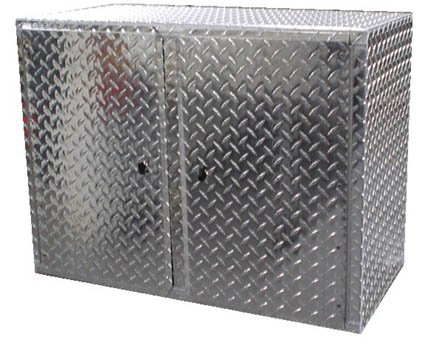 Pit Posse 910 Overhead Storage Shop Diamond Plate Aluminum Cabinet Race Car  Enclosed Cargo Trailer