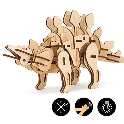 ROKR 3D Wooden Puzzle 3D Dinosaur Puzzle,Sound & Remote & Light Control,Robotic Walking Dinosaur,Birthday for Boys,Kids and Adults(Stegosaurus)