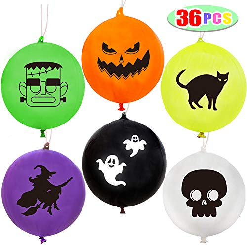 Halloween Punch Ball Balloons (Kiddokids 36 Pcs Halloween Party favors Punch Balloons for Kids Halloween Punch Games with 6)