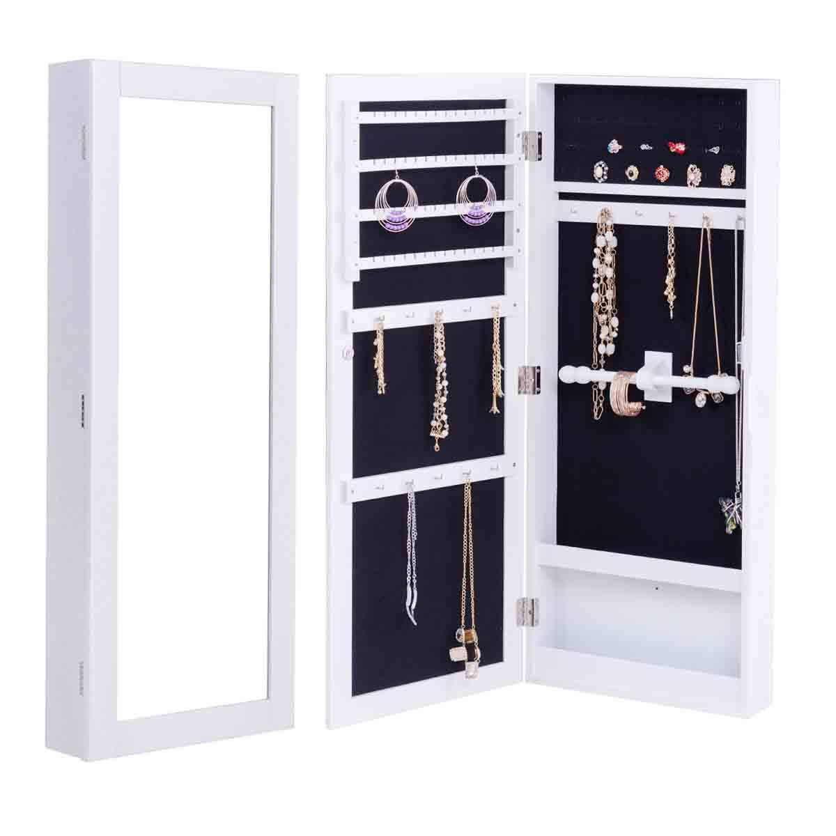 WATERJOY Mirror Jewelry Cabinet Lockable Wall/Door Mounted Storage Jewelry Cabinet Full Length Organizer