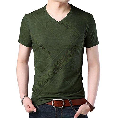 Respirant Manches T Acmede Shirt Col Casual Imprimé V Courtes Tee Armée Verte shirt Homme 1RIIqAnvf