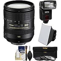 Nikon 16-85mm f/3.5-5.6 G VR DX AF-S ED Zoom-Nikkor Lens with iTTL Flash + Soft Box + 3 UV/CPL/ND8 Filters + Kit