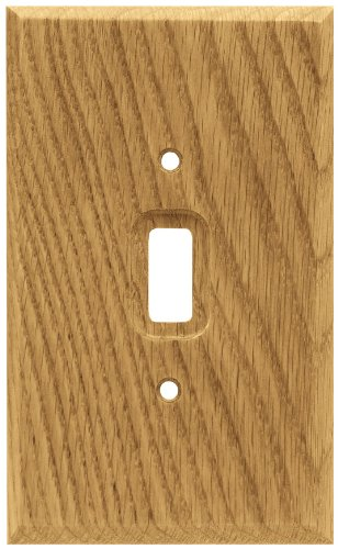 Brainerd 64672 Wood Square Single Toggle Switch Wall Plate / Switch Plate / Cover, Medium Oak