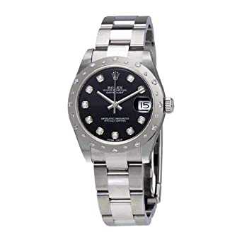d6f23a1f6b59 Image Unavailable. Image not available for. Color  Rolex Oyster Perpetual  Datejust 31 Black Dial Stainless Steel Bracelet Automatic Ladies Watch  178344BKDO