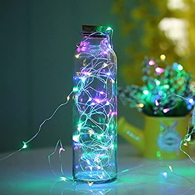 Rulaii LED Fairy String Lights USB/AC Powered with Timer Remote Control Dimmable, 33ft 100 LEDs Multi Color Flashing Copper Wire for Party Christmas Tree Decorative