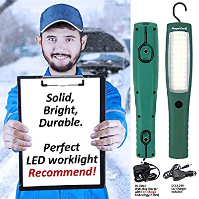 AmeriLuck Cordless LED Work Light, Rechargeable with Hanging Hooks & Magnets, 10W Super Bright 1000 Lumens (3 Modes)