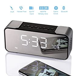 Bedside Alarm Clock with Bluetooth Speaker, Wireless Stereo Sound Speaker Built-in Micro SD Card, LED Nightstand Clock and Large Mirror LED Dimmable Display