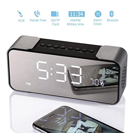 Lovely Bedside Alarm Clock With Bluetooth Speaker, Wireless Stereo Sound Speaker  Built In Micro SD