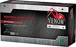 Venom Ven6143 Steel Premium Industrial Nitrile Gloves, Large, Black (Pack Of 100)