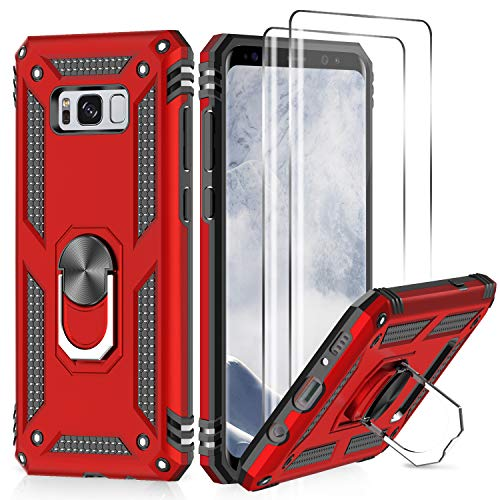 Samsung Galaxy S8 Plus Case with 3D PET Screen Protector [2 Pack], LeYi [Military Grade] Shock Absorption Defender Protective Phone Case with Car Holder Mount Kickstand for Samsung S8 Plus JSFS Red