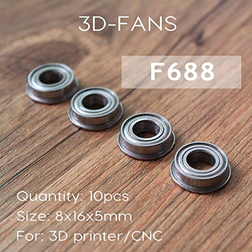 LGDehome 20Pcs Micro Stainless Steel F623ZZ Flange Ball Bearings with Edge 3x10x4mm for 3D Printer