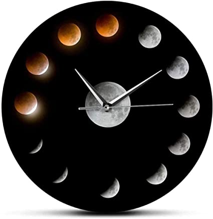 Wall Clock Series Of Total Lunar Eclipse Moon Phases Super Moon Celestial Wall Clock Outer Space Lunar Cycle Home Decor Quiet Wall Clock Silent Bedroom Kitchen Amazon Co Uk Kitchen Home