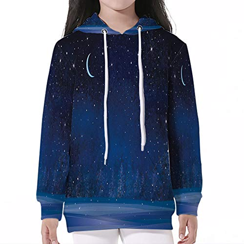 (Pullover Hooded Sweatshirt,Night,Winter Wonderland at Night Snowy Woodland Magi)