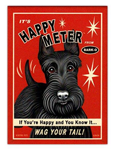 (Retro Dogs Refrigerator Magnets - Scottish Terrier Happy Meter - Advertising Art)