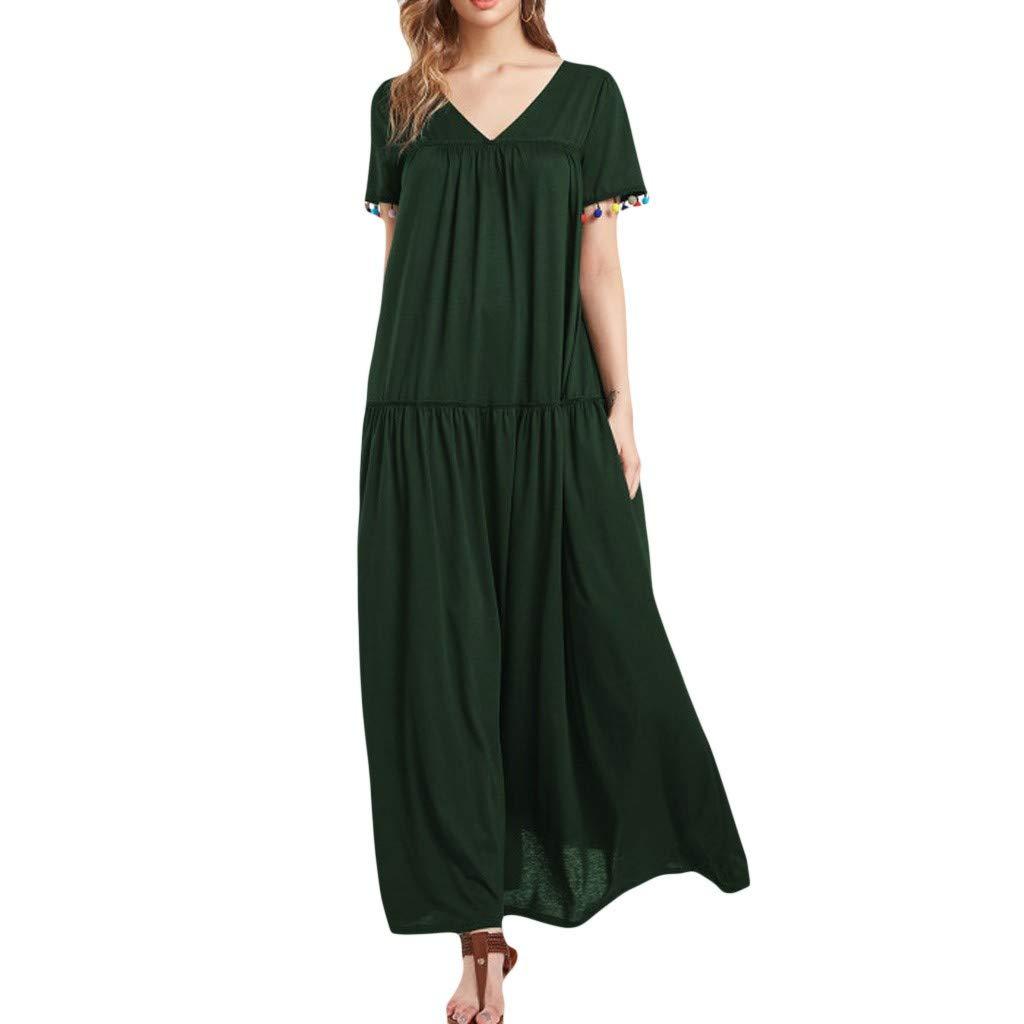 Waiimak Women's Maxi Dresses Summer Casual Loose Pocket Solid V Neck Short Sleeve Split Long Dress (Green, M)