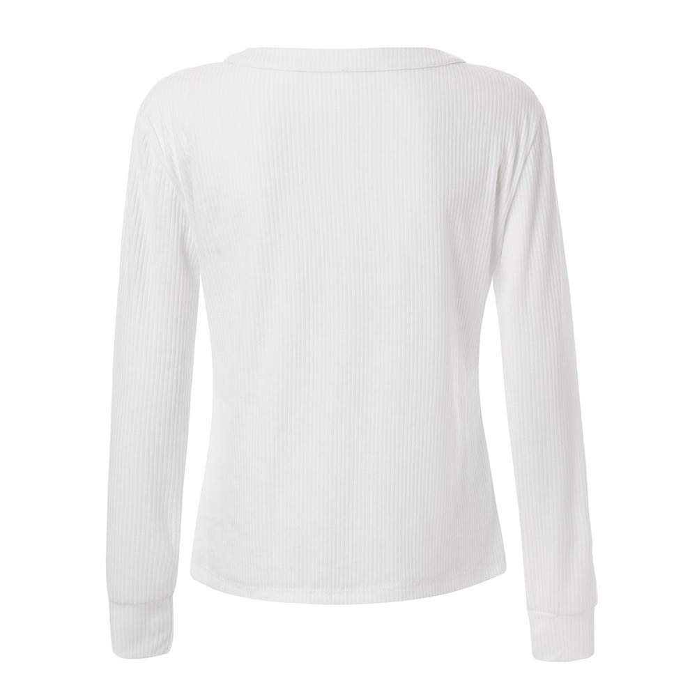 NUWFOR omen Casual Cuffed Sleeve V Neck Button Down Shirts Blouse Tops Pockets For Winter/Fall(White, L) at Amazon Womens Clothing store: