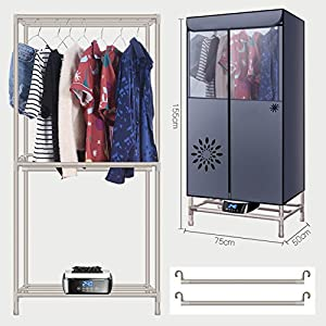 GX&XD Power saving Heater intelligent Clothes dryer,Collapsible Electric clothes dryer Clothing dryer rack Quick dry Double layer Large capacity Remote control Lightweight-B 75x50x155cm(30x20x61)