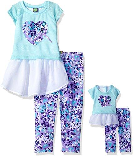 Dollie & Me Little Girls' Knit to Woven Tunic with Leggin...