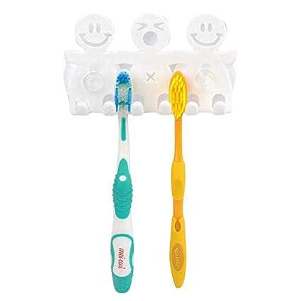 Bonito Soporte para cepillos de Dientes con Ventosa para baño, Pared, Cara Sonriente,