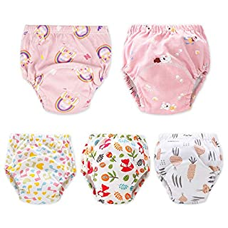 Baby Toddler 5 Pack Training Pants for Boys and Girls Assortment Potty Training Underwear Cotton Waterproof Pant (pink, 2T)