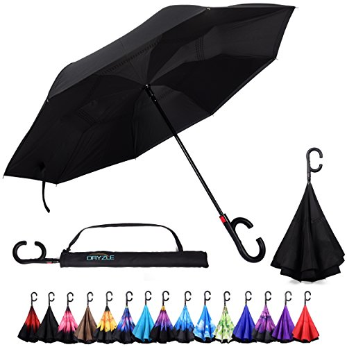 Dryzle Reverse Inverted Auto Open Umbrella by Upside Down Windproof Umbrellas for Women and Men (15 (Manual Open Golf Umbrella)