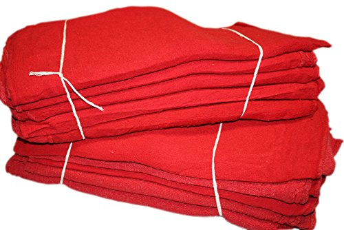 ATLAS 2500 Pieces Red Cotton Shop Towel Rags, Industrial Grade, New Wipers for Cleaning, Wiping Floors and Machinery