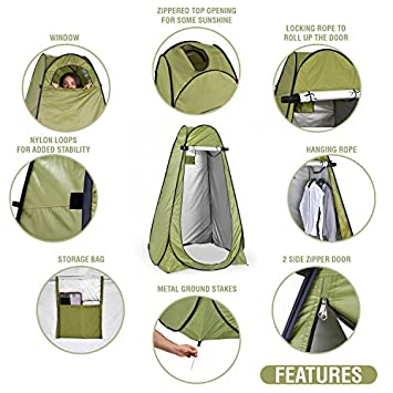 Pop Up Privacy Tent Instant Portable Outdoor Shower Tent, Camp Toilet Changing Room, Rain Shelter w Window for Camping Beach Easy Set Up, Foldable with Carry Bag Lightweight Sturdy