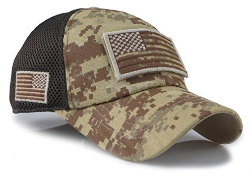 - Camouflage Constructed Trucker Special Tactical Operator Forces USA Flag Patch Baseball Cap (Digital Desert)