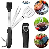 Camping Guru BBQ Multi Tool - 5 in 1 Stainless Steel Grilling Utensil including Bottle Opener, Spatula, Brush, Fork, Wine Opener, Assistive Device & Storage Bag | Ultimate Outdoor Kitchen Gadget