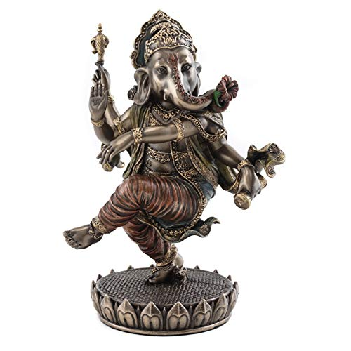 Top Collection Dancing Ganesh on Lotus Pedestal Statue- Lord of Success Sculpture in Cold Cast Bronze – 8-Inch Elephant Figurine