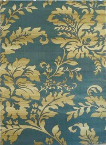 Modern Floral Area Rug Design # T 56 Sky Blue (8 Feet x 10 Feet)