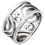 Apluto Rings for Men's Rings 316L Sainless Steel Ring Male Marks Hollow Silvery Finished 9mm US 11