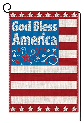 BLKWHT Independence Day Garden Flag Double Sided 4th of July