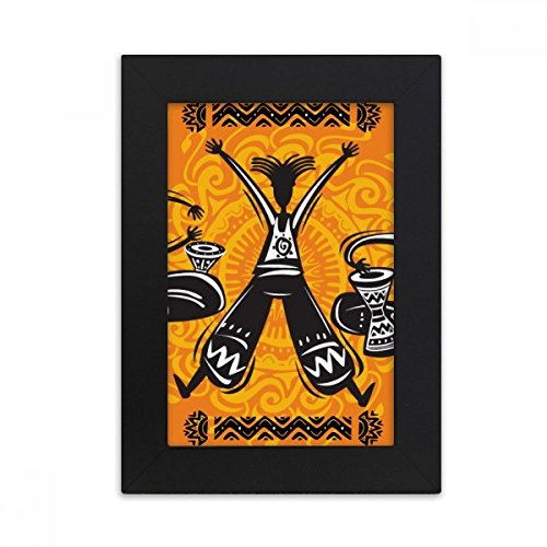 DIYthinker Dance Celebrate Mexico Totems Tambourine Desktop Photo Frame Picture Black Art Painting 5x7 inch by DIYthinker (Image #4)